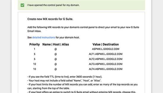 G Suite MX records