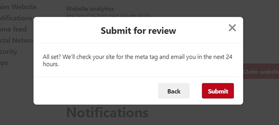 Submit website to review on Pinterest