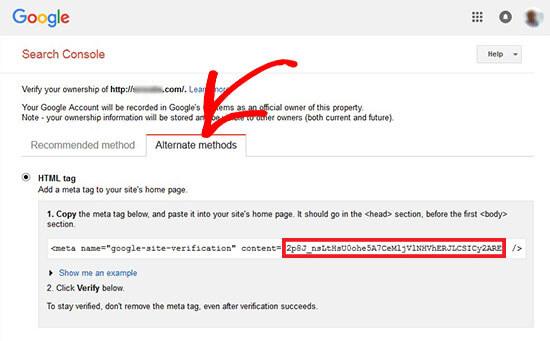 Webmaster verificatie code