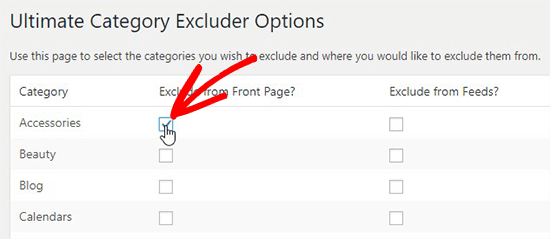 Exclude category
