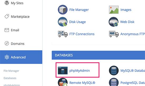phpMyAdmin in cPanel
