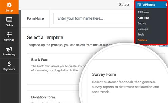 Create a survey form