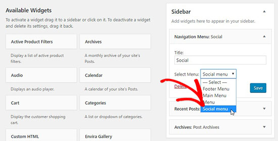 Social menu in widget