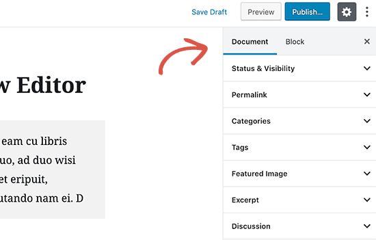 Dokumentindstillinger i Gutenberg den nye WordPress editor