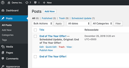 Managing your scheduled post and page content updates