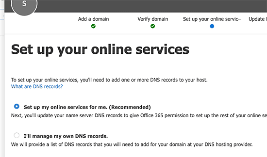 Setup your online services