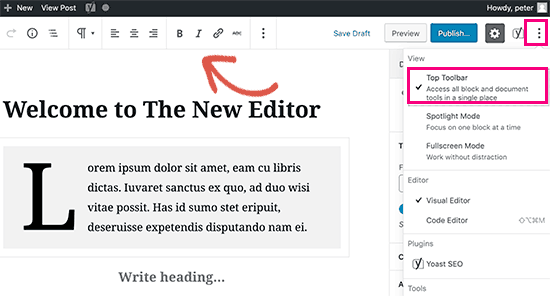 Переместить панель инструментов блока в верхнюю часть редактора