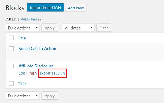 Export your WordPress block as JSON file