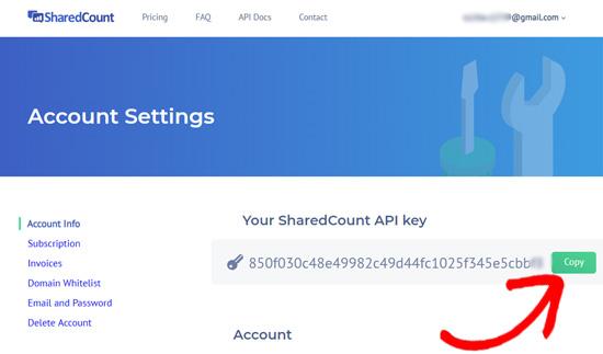 Ключ API SharedCounts.com