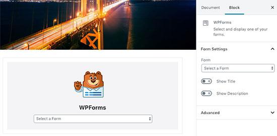 Блок WPForms в посте WordPress
