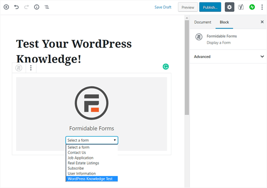 Choose Your Quiz Form Widget in WordPress