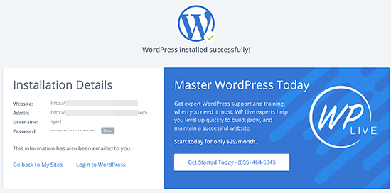 Successfully installed WordPress on Bluehost