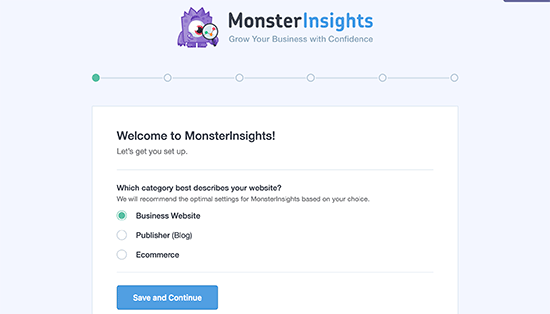 how to setup MonsterInsights wizard