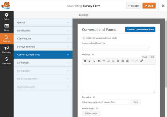 Conversational Form Landing Page Options WordPress