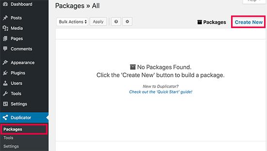 Create new duplicator package