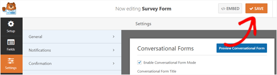 Save Conversational Form Landing Page Options