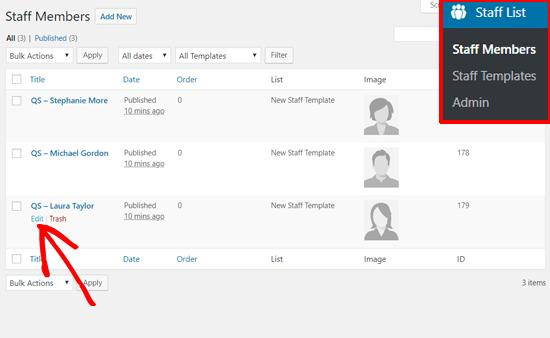 Edit Staff Member Profiles