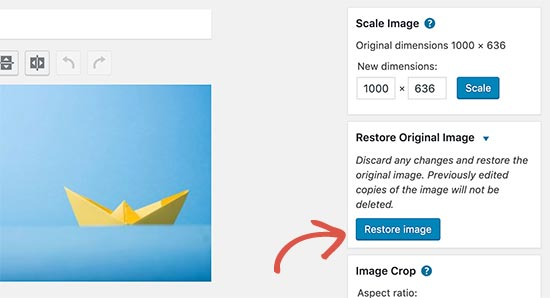 Restore image after editing it in WordPress