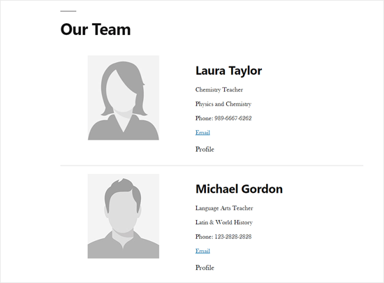 Staff Member List Page Demo in WordPress
