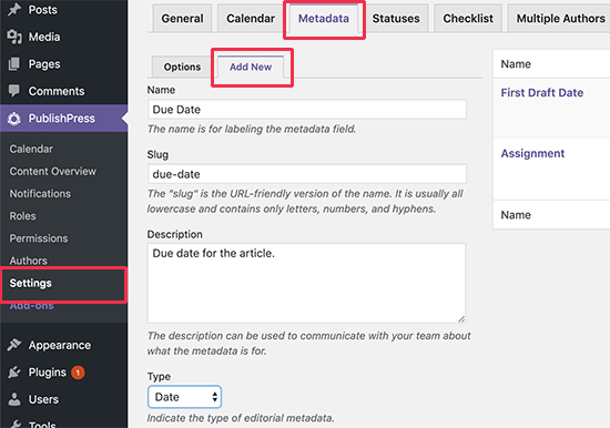 Adding a custom editorial metadata field