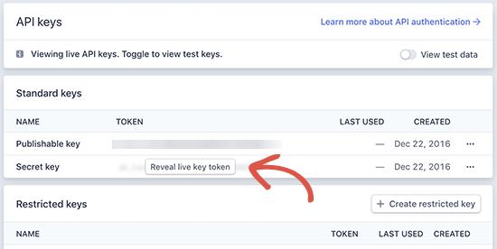 Stripe publishable keys