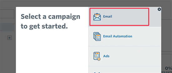 Select email campaign type