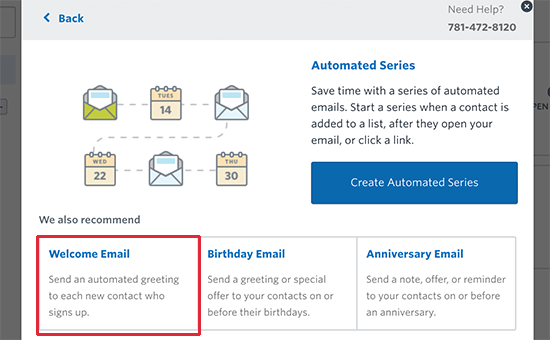 Select automated welcome email