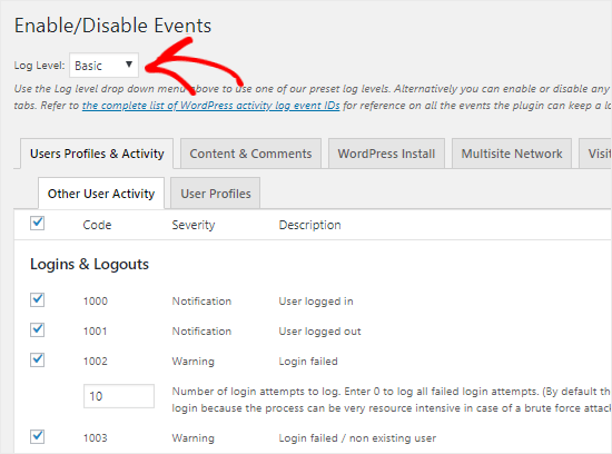 Enable or Disable Events to monitor