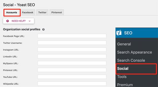 Add your social media profiles in Yoast SEO settings