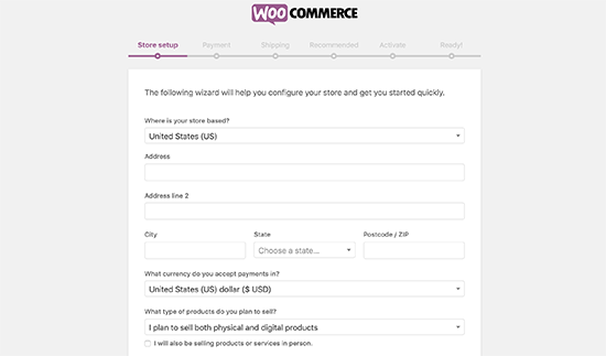 WooCommerce set up wizard