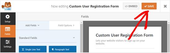 Simpan Formulir Pendaftaran Pengguna Kustom Anda