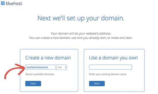 Pilih domain email gratis Anda