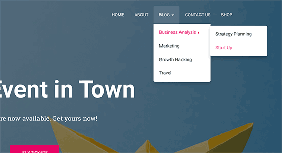 Multi-level dropdown menu
