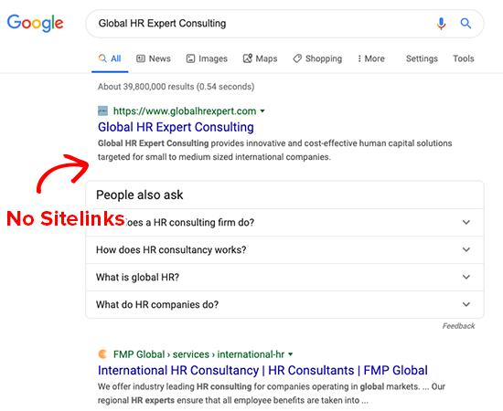 No Google Sitelinks for Generic Brands