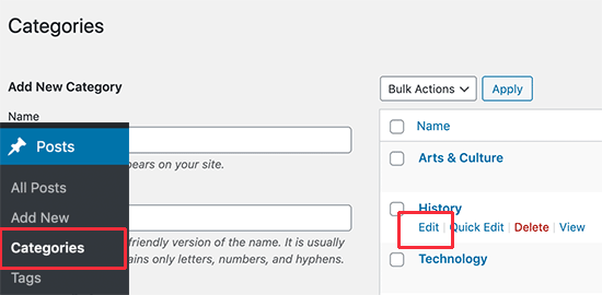 Editing a category in WordPress
