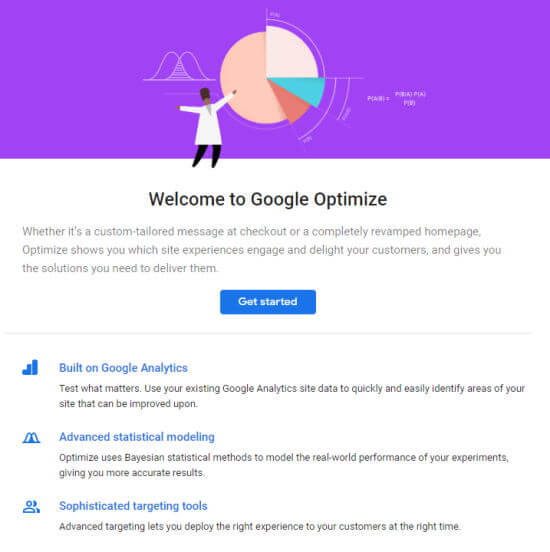 The Welcome page for Google Optimize, with Get Started button