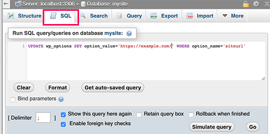 Running SQL in phpMyAdmin