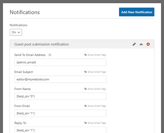Setting up a guest post notification email in WPForms