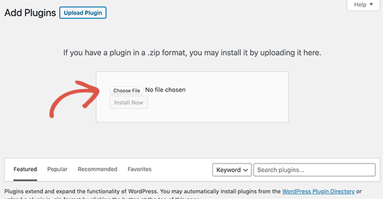 Select plugin zip file to upload and install in WordPress