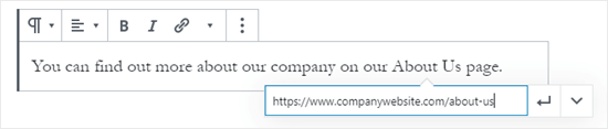 Creating a link by pasting in a URL using the WordPress block editor