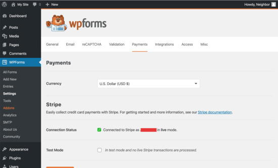 WPForms is connected to Stripe for payments