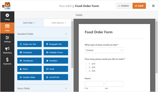 The newly created takeout delivery form, with default fields
