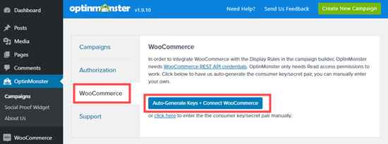 Autogenerate the WooCommerce keys to connect OptinMonster and your WooCommerce store