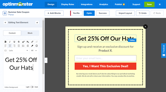 Editing the text on your WooCommerce coupon popup