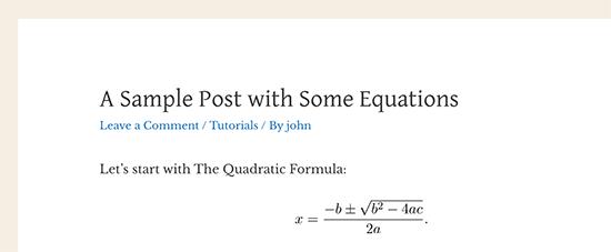 Persamaan matematika yang ditampilkan di WordPress menggunakan LaTeX