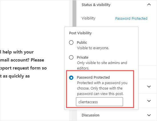 Kata sandi melindungi halaman dengan formulir di WordPress