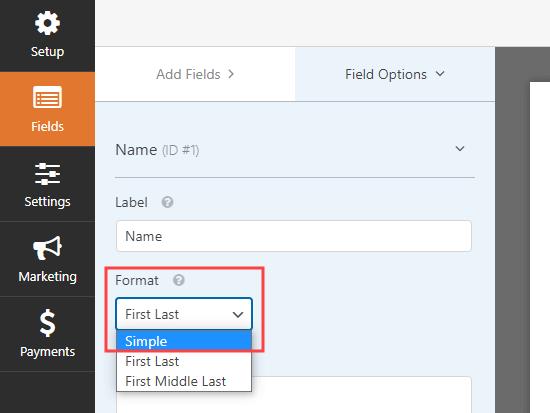 WPForms'da ad alanını değiştirme