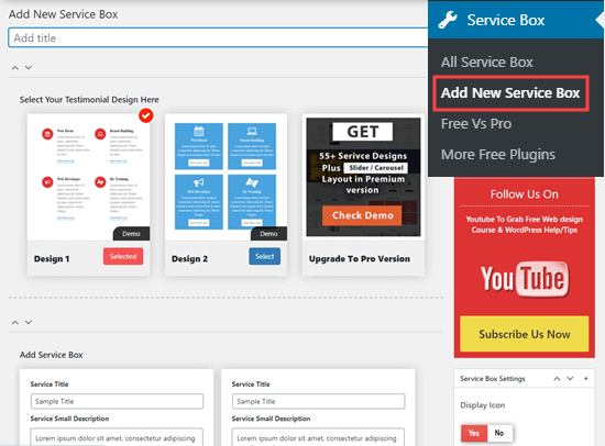 Creating a new set of services boxes in WordPress