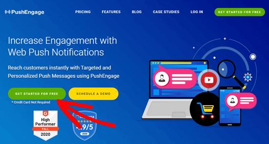 Klik tombol Mulai untuk membuat akun PushEngage Anda