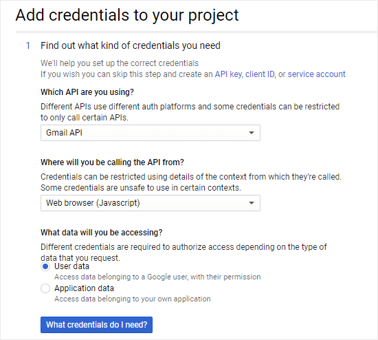 Starting the process of adding credentials to your project